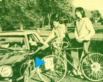 Jackson Browne's cameo appearance on cover of 1975 Olmos, in Steve Krause's bicycle spokes.